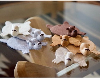 Bear Rug Coaster (Set of 7)