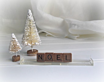 Noel Sign Vintage Scrabble Noel Letters Farmhouse Chic Rustic Christmas