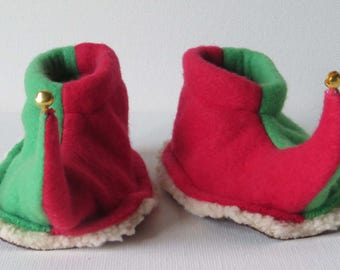 Elf Slippers: Toddler and Child Jingling Elf Shoes - Red and Green