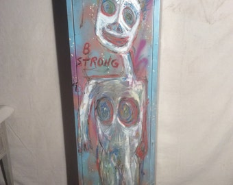Vintage Folk/Outsider Art Metal Storage Cabinet by RonGo Local Pickup Only