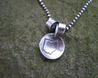 Sterling Silver, Ohio Hometown Necklace with Two Tube Seperators