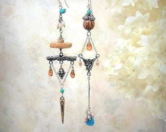 Ancestral Memory Asymmetric Gemstone Earrings Handmade Limited Edition Ethnic Tribal Festival Jewelry Turquoise Citrine Freshwater Pearls