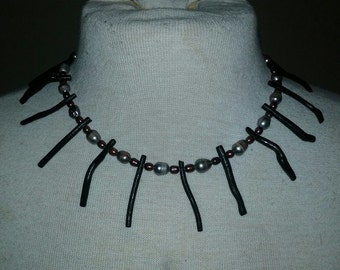 Black Coral, Freshwater Pearl & Sterling Silver Necklace