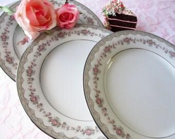 Vintage Salad Plates Noritake Glenwood Pink Rose Set of Four - Weddings Bridal
