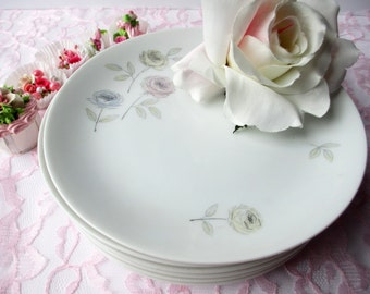 Vintage Salad Plates Thomas Eva Zeisel Pastel Floral Set of Six - Cottage Chic