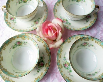 Vintage Noritake Teacups and Saucers Adela Seafoam Green & Pink Set of Four