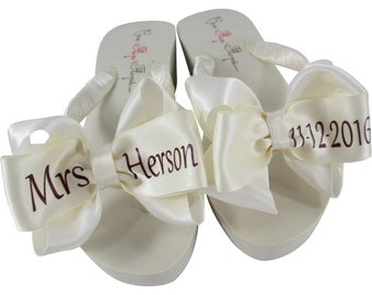 7a0c56bb9323 bridal wedge or flat flip flops with the burgundy wedding date last name  customize colors in