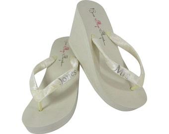 Bridal Flip Flops, Ivory Wedge White Platform Flip Flops- Mrs New Last Name, Silver Shimmer/Many Colors- Heel Platform