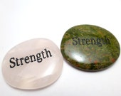 Strength Worry Stone Palm Pocket Thumb Healing Metaphysical Meditation Crystal Natural Rock Balance Wisdom Word