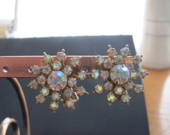 Vintage Aurora Borealis Clip Earrings