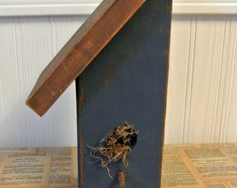 Chippy Blue Painted Wooden Birdhouse-Country Chic/Shabby Chic/Cottage Chic