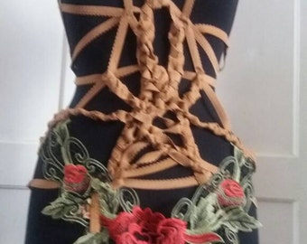 Body harness, strech body cage, gypsy, lingerie, sexy,bohemian, bondage, brown, flowers, playsuit, women, size medium, dance, steampunk