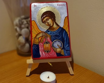 Saint Arch Gabriel painting on wood, handpainted icon original 4x6 inches, Made to Order Icon