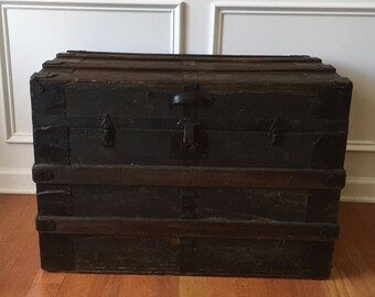 Antique Steamer Trunk. Industrial Home Decor. Coffee Table. Flat Top. Wood. Leather. Metal. Bedside. Night Stand. Vintage Trunk.