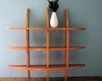 Mid Century Curved Wood Wall Hanging Shelf