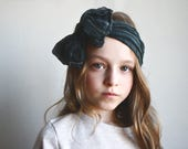 Smokey Grey - Ruffle Bow Headband