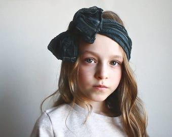 Smokey Grey - Ruffle Bow Headband