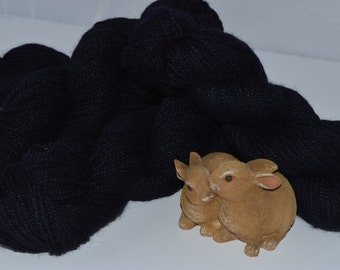 Navy Blue Angora/Merino/Silk Fingering Weight Mill Spun Yarn made with Michigan Raised Angora