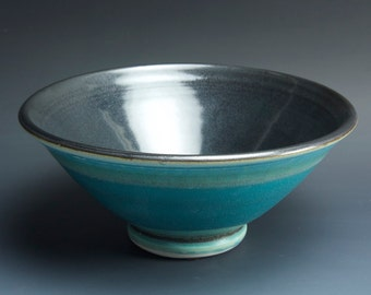 Handmade pottery bowl turquoise porcelain serving or ceramic salad bowl 1 qt, - 3568