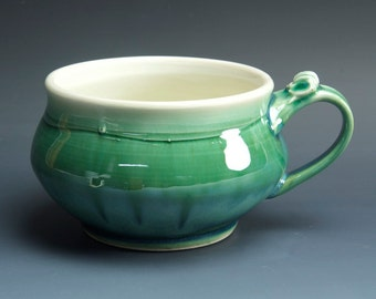 Handmade pottery soup mug ceramic chili mug jade green cereal cup 24 oz  3569