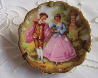 Vintage 1930's Limoges France China Brooch with Country Scene