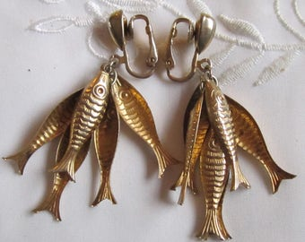 Vintage Gold Tone Five Hanging Fish Clip On Earrings by Park Lane