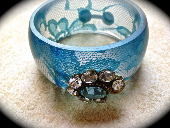 Something Blue Vintage Bangle-Wide Cuff Bracelet