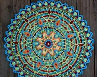 Crochet Overlay Mandala  No. 5, Pattern, PDF in English, Deutsch, Espanol