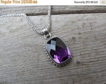 ON SALE Beautiful amethyst necklace handmade in sterling silver with a deep purple stone