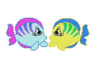 Plastic Canvas Set Eleven Sad Eyes Sea Creatures Fish Wall Hanging Instant Download