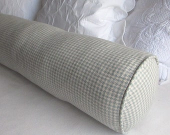 Houndstooth light blue/cream Large bolster 8x30