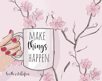Make Things Happen - Spring Art - Cherry Blossoms - Coffee Art - Heather Stillufsen