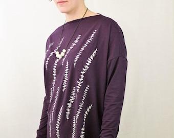 Purple Eucalyptus Print Long Sleeve Oversized Tunic One Size Fits Most