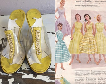 Springtime In Her Step - Vintage 1950s Yellow & Clear Plastic Heeled Slides w/Rhinestone Chevrons- 8