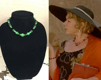 Mrs. Allerton in Her Stylish Way - Vintage 1930s Black & Green Czech Glass Art Deco Necklace