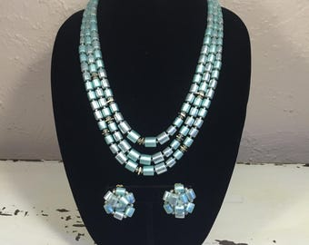 Down and Out Blues - Vintage 1950s Cylindrical Blue Shades 3 Strand Necklace & Earring Set