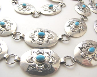Sterling Silver Native American Navajo Stamped Concho Turquoise Link Belt from AllieEtCie