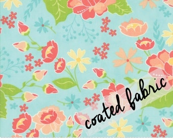Coated Cotton Aqua Floral Print from the Lulu Lane Collection, by CoreyYoder for Moda