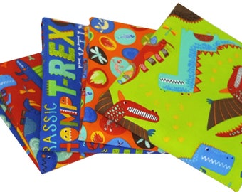 Bundle of 4 Abi Hall Children's Dinosaur Prints in Bright Colors from the Jurassic Jamboree Collection, by Moda