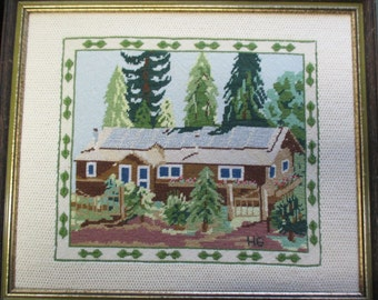 Vintage framed needlepoint  cabin in the pines 17 by 20 inches framed cabin decor lodge decor