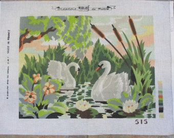 Needlepoint canvas graceful swans  Margot  13 1/2  by 17 1/2 inches no yarn included no instruction