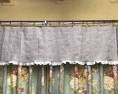 For Patti--3 Valances--Washed Linen Valance in Oatmeal with White Ruffled Hem-Rod Pocket or Clip Ring Valance-Oatmeal Linen Window Treatment