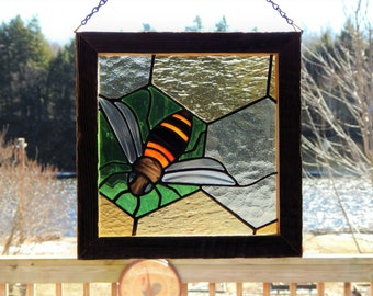 Stained Glass Honey Bee Panel