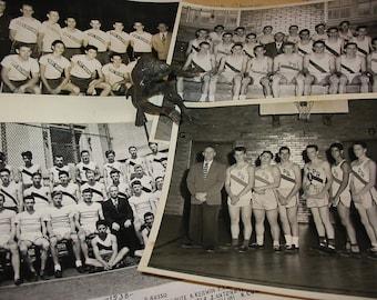 Vintage High School Sports Team Photo Lot of 13 Plus Statistics 1950's Port Richmond High School Staten Island New York Old Sports Photos