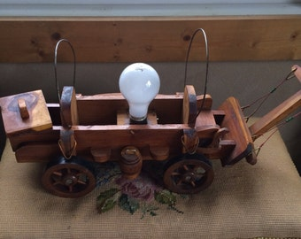Vintage Original Covered Wagon Accent Lamp 1950s Wagon Train