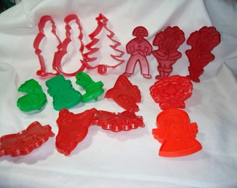 Vintage Red and Green Plastic Christmas Holiday Cookie Cutters.