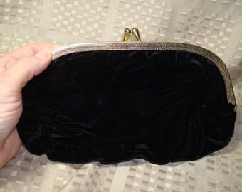 1964 Black Velvet Clutch and Handbag All in One.