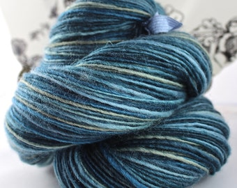 Handspun Yarn Gently Thick and Thin DK Single Blue Faced Leicester 'Blue Gray Tonal'