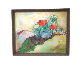 Original Signed Oil on Canvas Abstract Still Life Marilyn Leiserowitz 1966