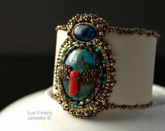 Sacrifice - Nautical Style Copper Turquoise and Red Coral Cuff, Bead Embroidered Bracelet, Boho Chic Jewelry